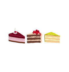 Layered cake pieces with cream and berry vector