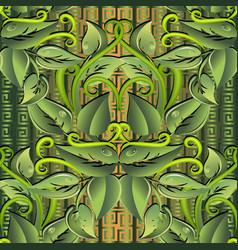 Leafy green 3d seamless pattern ornamental vector