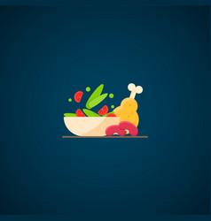 Lettuce chicken beans healthy diet dinner vector