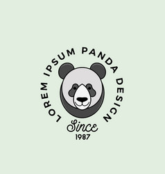 line style panda bear face with retro typography vector image