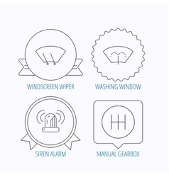Manual gearbox siren alarm and washing window vector image