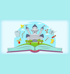 medieval horizontal banner tale cartoon style vector image