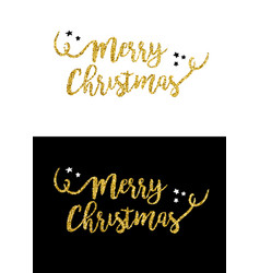 merry christmas gold glitter quote greeting card vector image