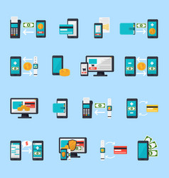 Mobile commerce icon set vector