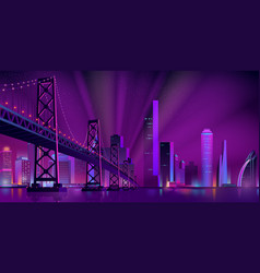 modern night city landscape background vector image
