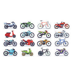 motorcycle and scooter set bikes and choppers vector image