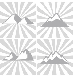 Mountain gray icons on striped background vector
