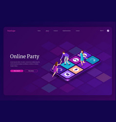 online party isometric landing people dancing vector image