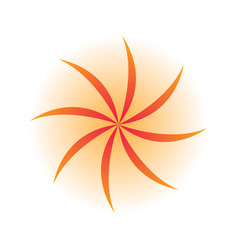 orange swirl leaves logo vector image