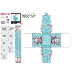Paper box template for easter holiday vector