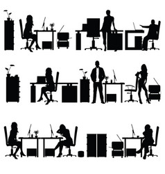 people in office silhouette vector image