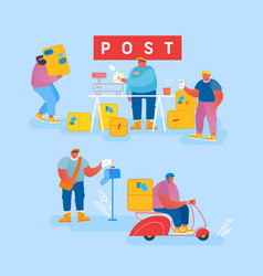 people in post office send letters and parcels vector image