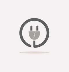 plug icon with shade on a beige background vector image vector image