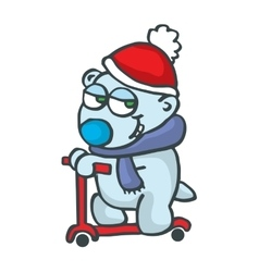 Polarbear with scooter cartoon design vector