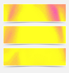 pop art style headers collection in yellow and vector image