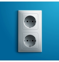 Realistic electric white double socket on blue vector