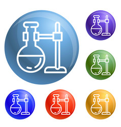 round flask on stand icons set vector image