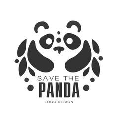Save the panda logo design protection of wild vector