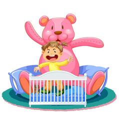 scene with little girl in crib with giant teddy vector image