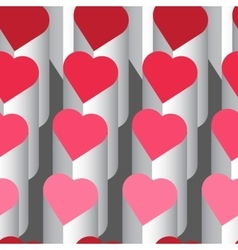 Seamless pattern with pink hearts struckture vector image