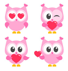 set cute pink owls with hearts vector image