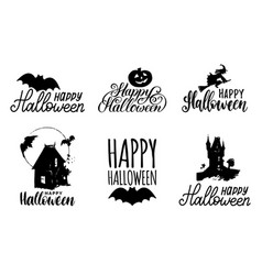 set hand lettering with happy halloween vector image