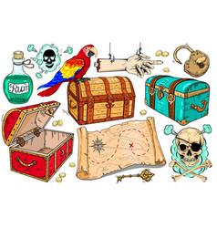 set icons on theme pirates vector image