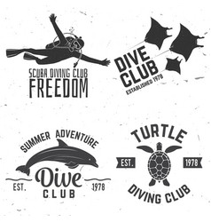 Set of diving club badges vector