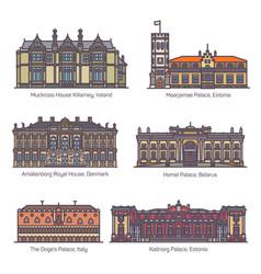 Set royal palaceparliament house europe vector
