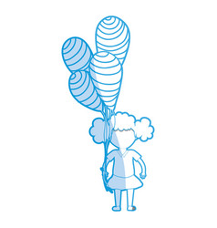silhouette cute girl with balloons in the hand vector image