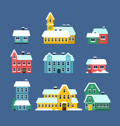 snow rohouses cold season urban snowy city vector image