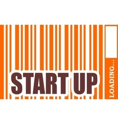 Start up word build in bar code vector image