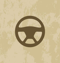 Steering Wheel icon on grunge background vector image