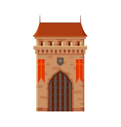 Stone castle tower with gates part medieval vector