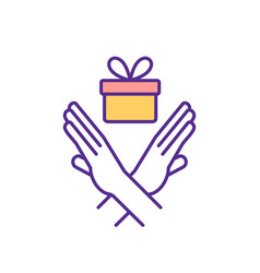 struggling with gifts receiving rgb color icon vector image