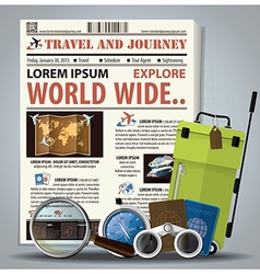 Travel And Journey Newspaper Lay Out With vector