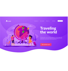 traveling world landing page template vector image