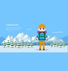 trekking time concept banner vector image