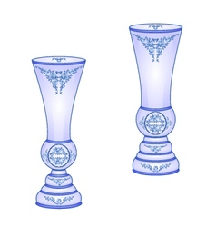 Two vases blue faience floral pattern vector