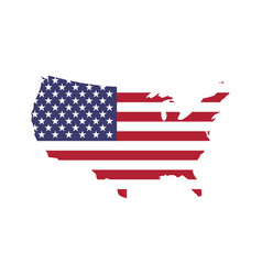 Usa flag in a shape of us map silhouette united vector