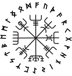 Vegvisir magic navigation compass ancient vector