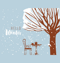 winter street cafe under tree with inscription vector image