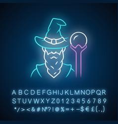 Wizard neon light icon sorcerer magician in hat vector