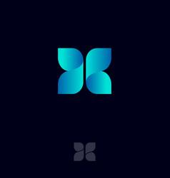 x logo consist blue ribbons origami monogram vector image