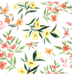 Yellow and red flowers tiny floral seamless vector