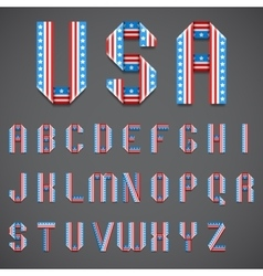 American Flag Folded Font vector image vector image
