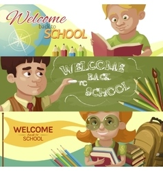 Back To School Horizontal Banners Set vector image
