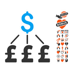 dollar pound links pound icon with dating bonus vector image vector image