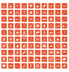 100 human health icons set grunge orange vector