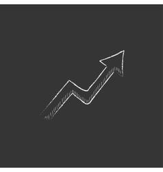 Arrow upward Drawn in chalk icon vector image vector image